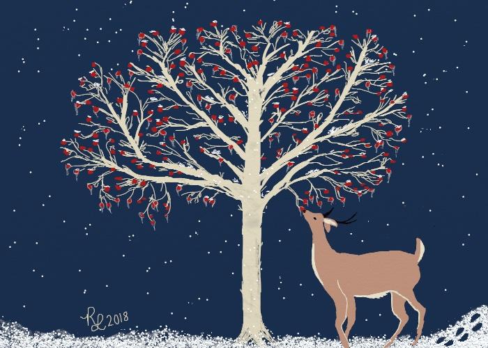 deer eating crab apple tree